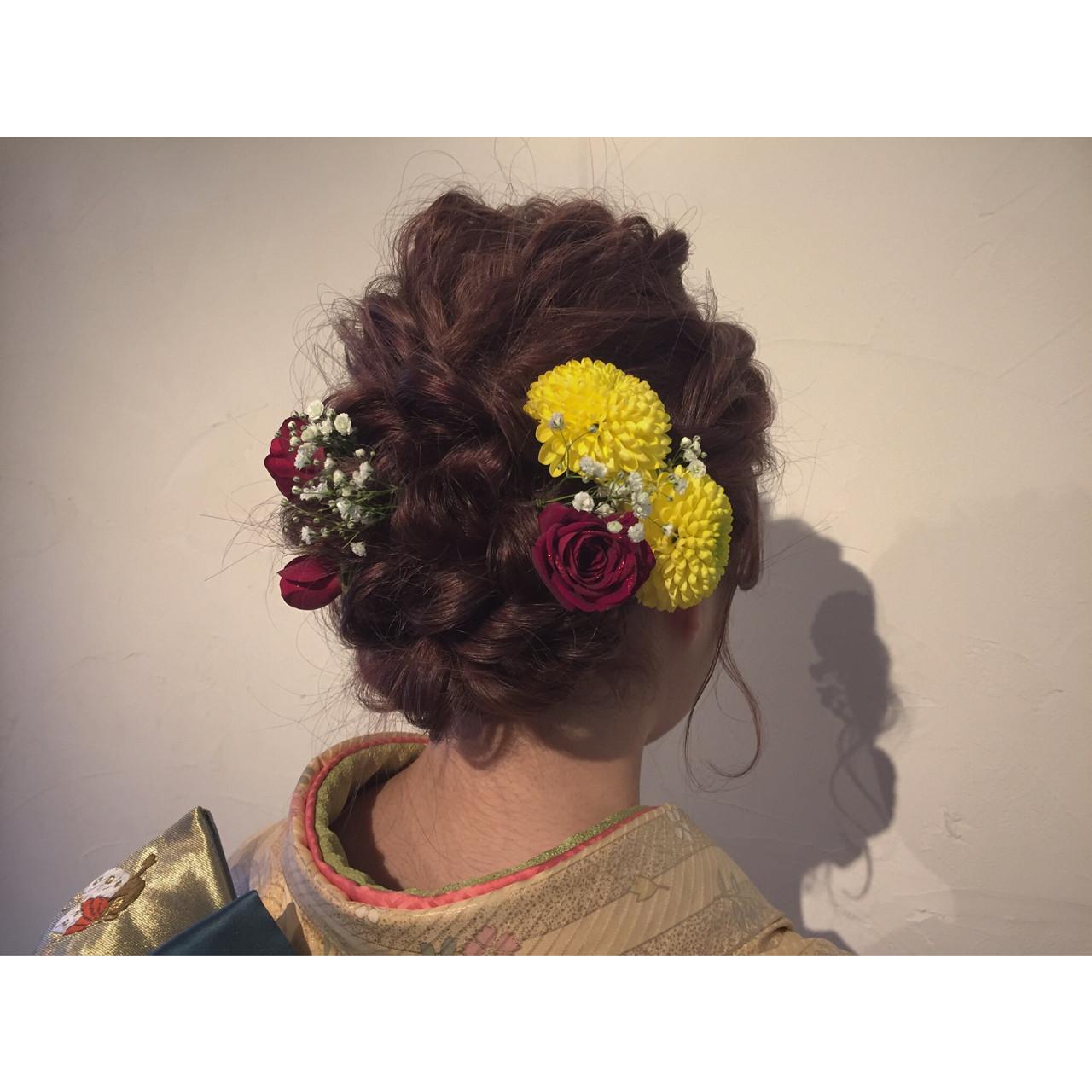 ヘアアレンジ ラフ ロング 花 ヘアスタイルや髪型の写真・画像