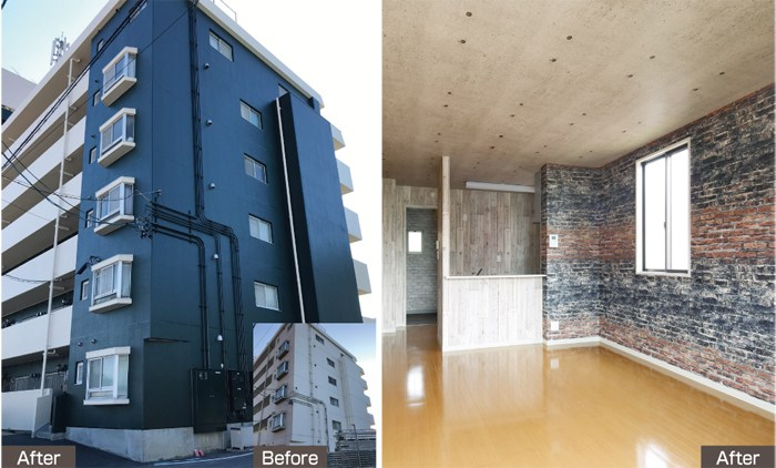 分譲レベルの室内リノベーションと美しい外装修繕で空室を解消!│リビルドデザイン1