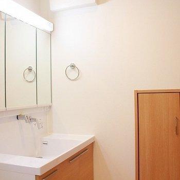 洗面台の白と木の感じがとても良い