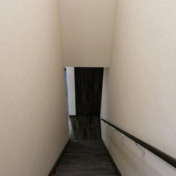 階段で2階へ、、