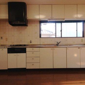 3口コンロの巨大なシステムキッチン。左には冷蔵庫置き場が。