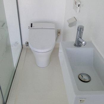 お風呂の向かいにトイレ ※写真は別部屋です