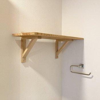 トイレ上にも棚があります。トイレットペーパーのストックなどはこちらに。