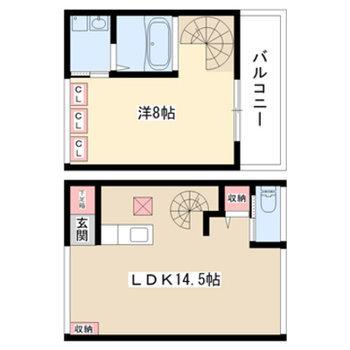 1階がリビング、2階が寝室とサニタリー(実際は1階にバルコニー、玄関まわりの配置が異なります)