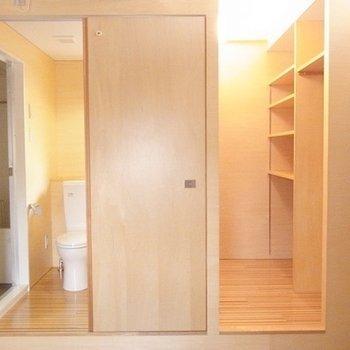 収納と水回りの配置はこんな感じ。※写真は別部屋