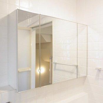 洗面台の鏡は扉棚になっています※写真は別部屋です