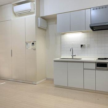 キッチンの左に大きな収納があります!