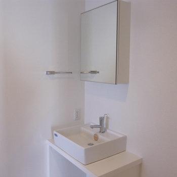洗面台はシンプルで◎※写真は別部屋です。
