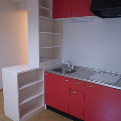 キッチンまわりは収納たくさんで使いやすそう