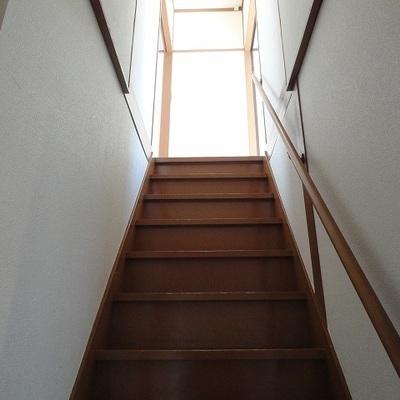この階段で2階に上がります