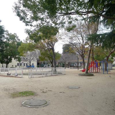 隣には広い公園があります。