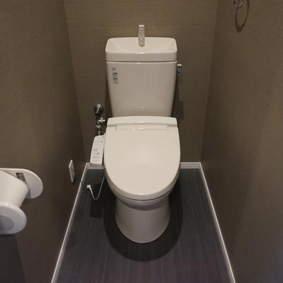 トイレ落ち着く色合い。※写真は別部屋です