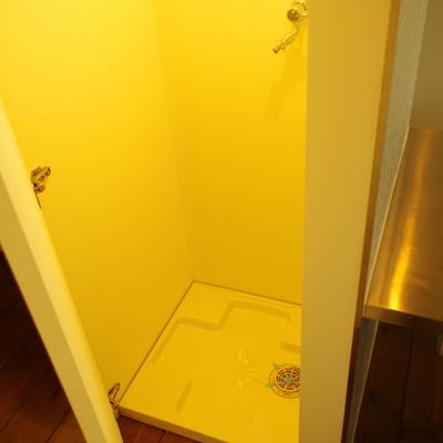 洗濯パンは洗面室とキッチンの間に隠れています
