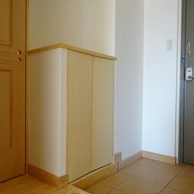 玄関はタイル、シューズボックスも完備