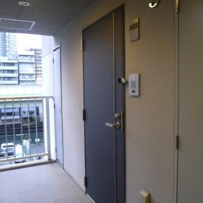 玄関扉もシックな色合いで統一。