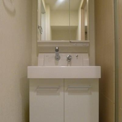 すっきりとしたデザインの洗面台です。鏡の中にも収納出来ます!