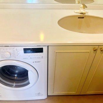 洗面台の下には収納と洗濯機があります