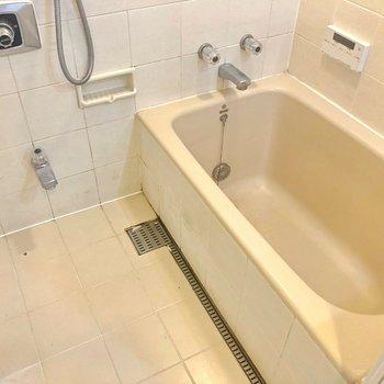 お風呂ひろびろ。タイルが雰囲気を壊しません!