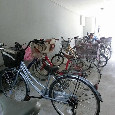明るく整頓されている自転車置き場