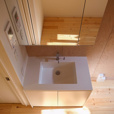 上から失礼します、おっきな洗面台です。