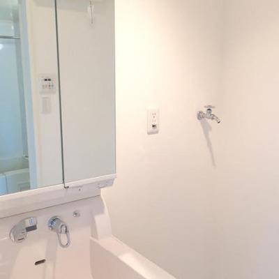 綺麗な洗面台と室内洗濯機置き場。