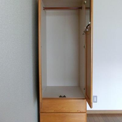 洋服ダンスが収納スペースとして置いてあります