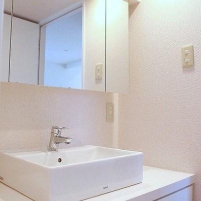 洗面台は大きくとっても綺麗です