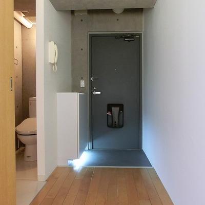 玄関横に靴箱下には足元ライトが付いております