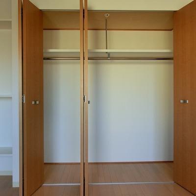 大きなクローゼットに高さ調節のできる棚もあります※画像は11階