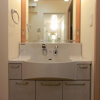 洗面台は深くて機能的です※写真は別部屋です。