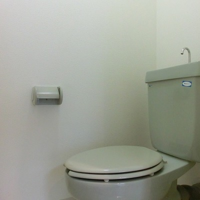 優しいグリーの棚付きのおトイレです※写真別部屋