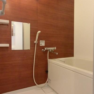 木目調の壁があると普通のお風呂も高級感あるように見えますね!
