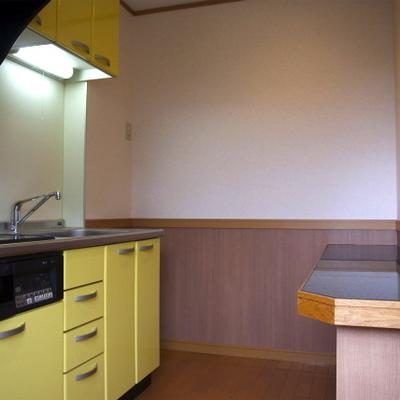 この黄色のキッチンに惚れる