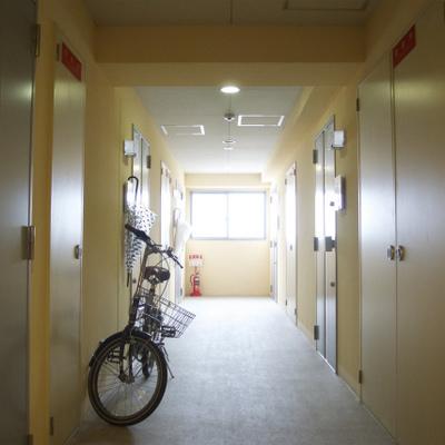 廊下は黄色。どこまでもカラフルですねえ※写真は別部屋