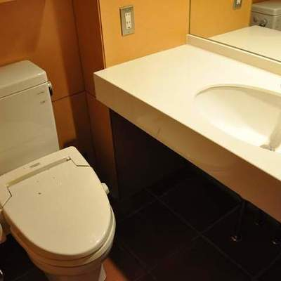 トイレに、大きめの洗面台があります。