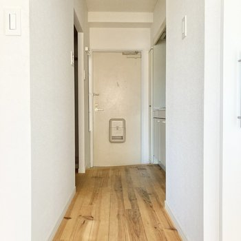 廊下にも無垢床が施されています。