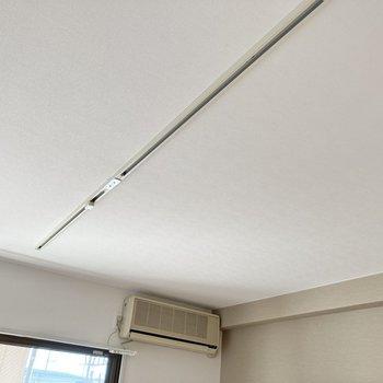 天井にはライティングレールが備わっています。お好みの空間を演出できますね。
