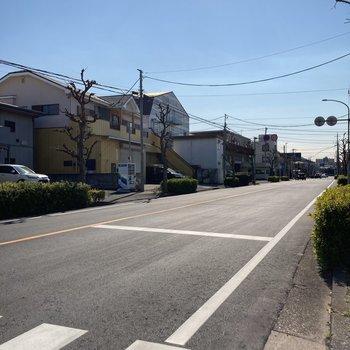 通り沿いも車の量はそれほど多くありません。