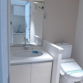 洗面台とトイレは同室です。ピカピカ!※写真は別部屋になります。