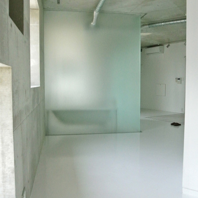 磨りガラスの浴室の存在感