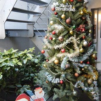 共用部です。クリスマスの時期に行ったのでサンタさんが迎えてくれました※写真は前回募集時のものです。