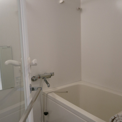お風呂です。ドアはなぜかガラス張りなんです
