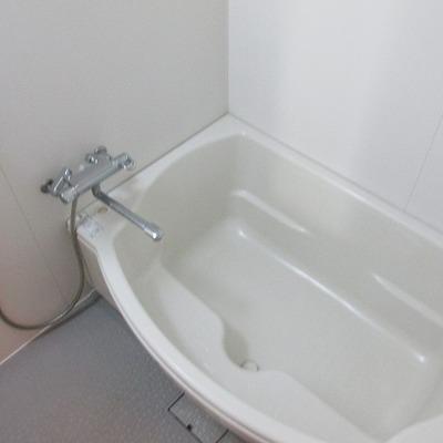 ちょっと変わった浴槽の形です。