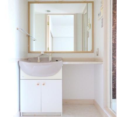 大きな鏡の洗面台!