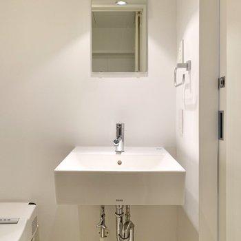 洗面台はシンプルでした。洗面ボウル下にはラックが置けそうです。
