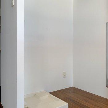 キッチン背中側には冷蔵庫と洗濯機が置けるようです。