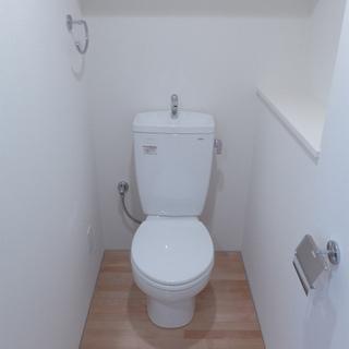 トイレもピカピカ。棚もありgood!