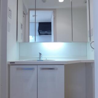 洗面台が大きい!鏡も大きいと嬉しいですよね!※写真は別部屋になります。