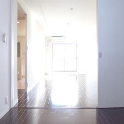 寝室からの眺め。光が届くと明るいです。