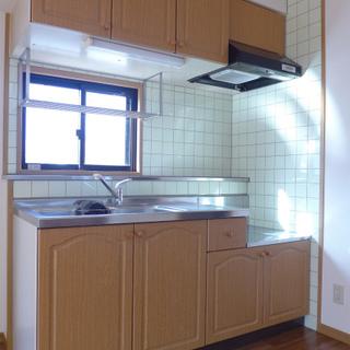 キッチン大きめ、窓があり明るいです!